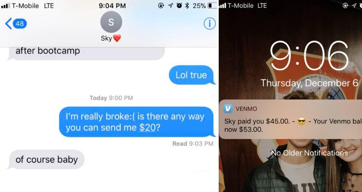 Text exchange of someone asking to borrow money