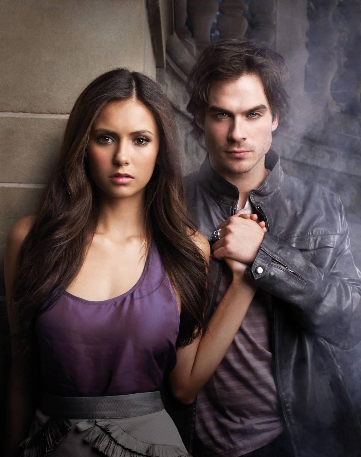Elena and Damon from The Vampire Diaries