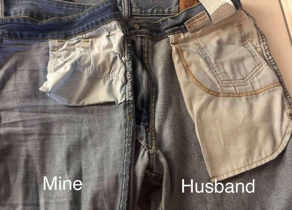 A photo comparing the pocket size in a woman's pair of jeans and a man's pair of jeans.