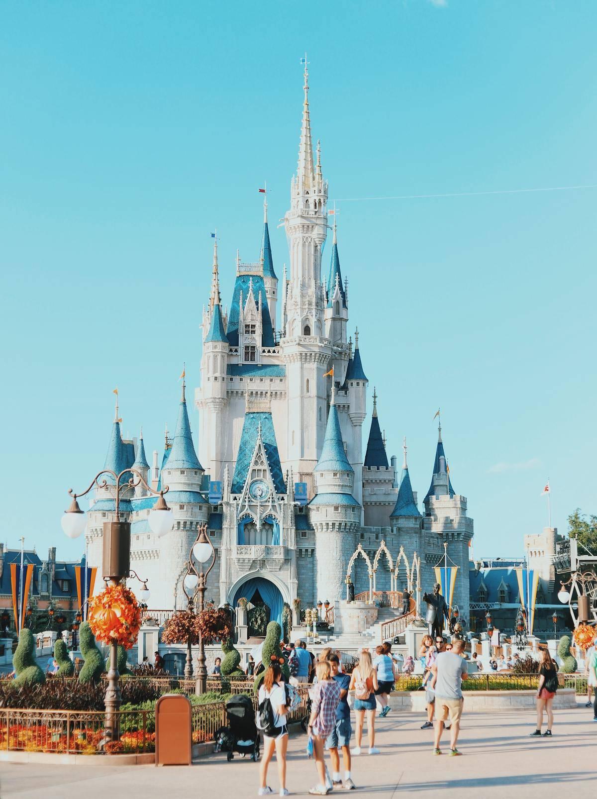 A Walt Disney World castle at the Disney park in Orlando, Florida.