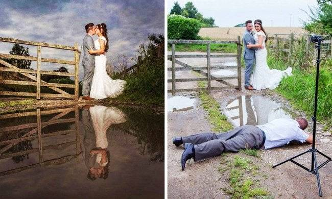 Picture of bride and groom on the left and on the right see the photographer on the ground shooting it.