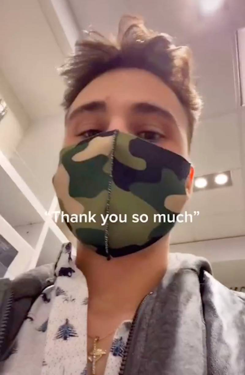 Brandon looks at the camera during his TikTok video with the caption