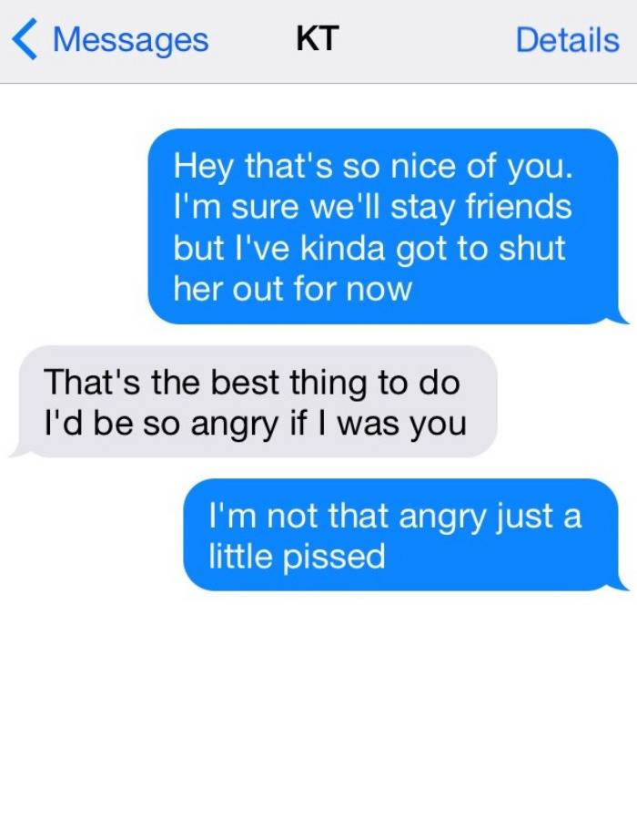 Text message where a person says they need space after learning that their partner cheated on them.
