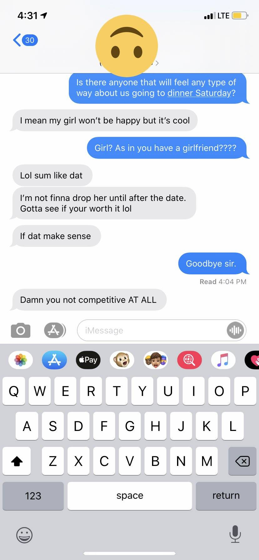 Text message exchange where guy reveals he has a girlfriend