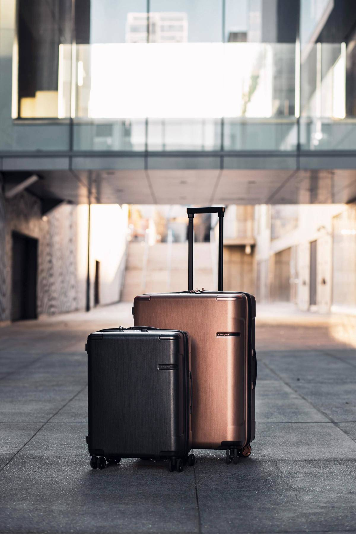 Brown and copper luggage