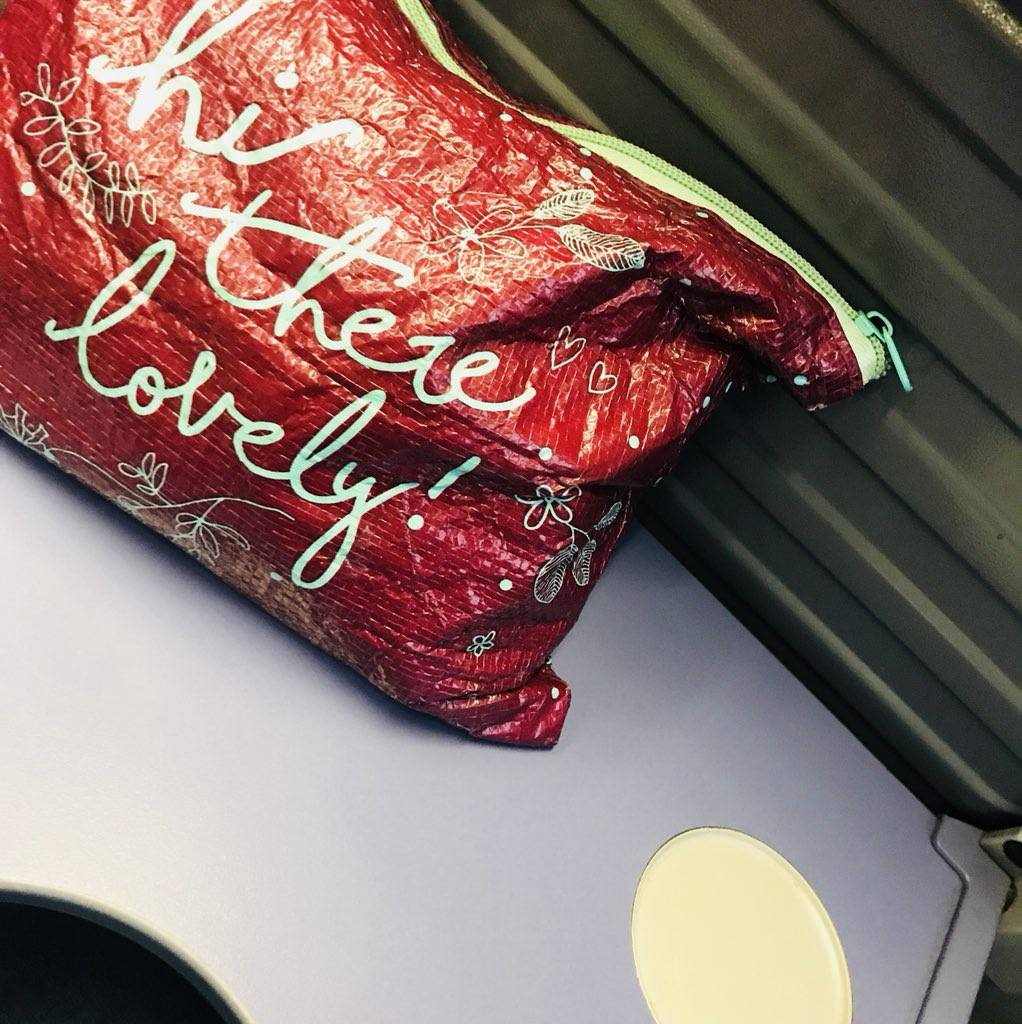 Makeup bag on train table