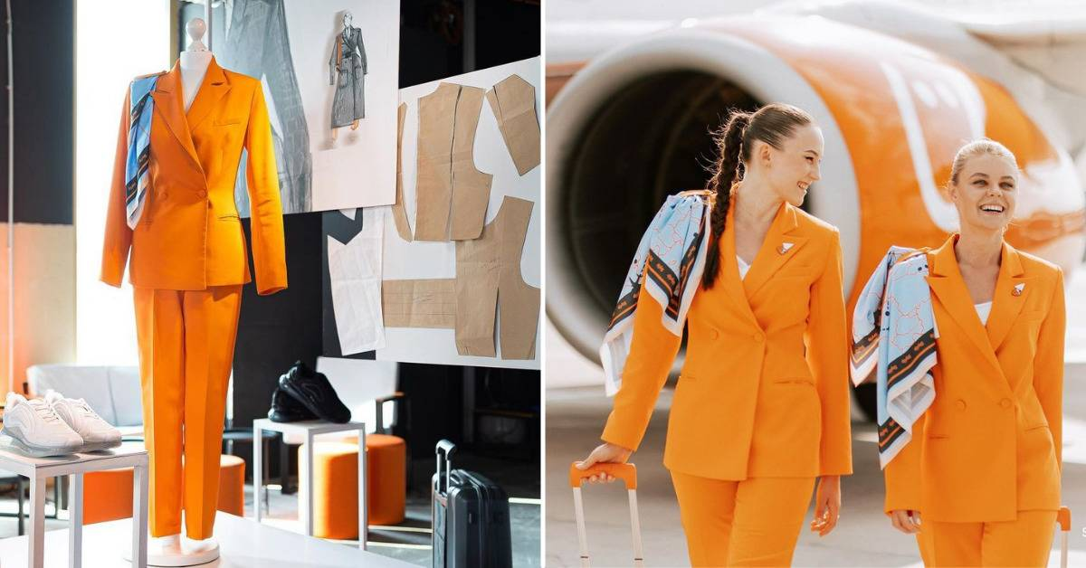Split-screen ad image of mannequin wearing the new flight attendant uniforms and two flight attendants wearing them outside on the tarmac.