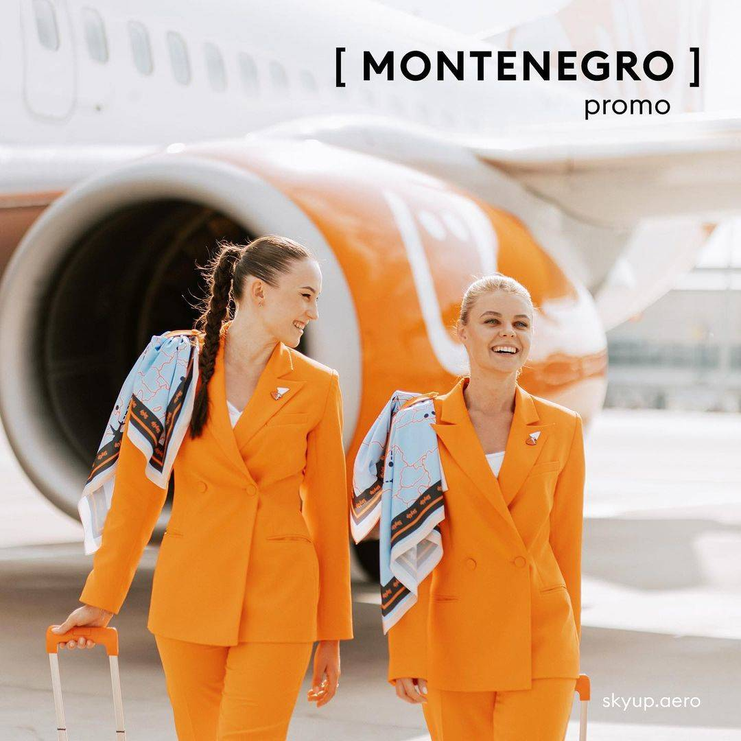 Flight attendants for SkyUp Airlines donning their new comfortable and modern uniforms.