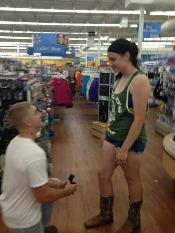 Man proposes in Walmart clothing aisle